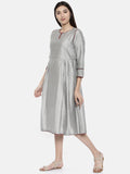 Silver With Embr Dress - AS0114 - Asmi Shop