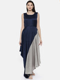 Blu/Grey Drape Dress - AS0122 - Asmi Shop