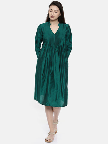 Green Pleated Dress - AS0123