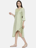 Pastel Green Classic Cut Dress - AS0126 - Asmi Shop