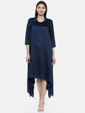 Blue Cowl Neck Dress - AS0136 - Asmi Shop