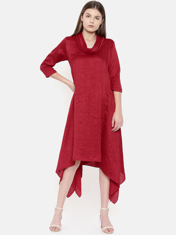Red Cowl Neck Dress - AS0148