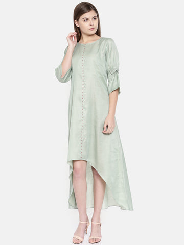 Green Linen Satin High Low Dress - AS0155