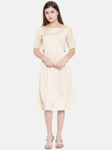Beige Cotton Silk Classic Dress - AS0163