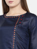 Blue Emb Linen Satin Kurta - AS0168