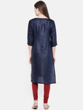 Blue Emb Linen Satin Kurta - AS0168 - Asmi Shop