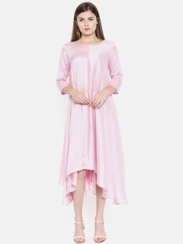 Baby Pink Potli Button Dress  - AS0171