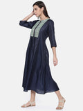 Blue Printed Chanderi Dress  - AS0188 - Asmi Shop