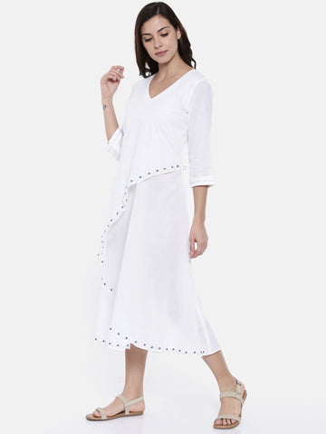 White Layered Cotton Dress  - AS0191