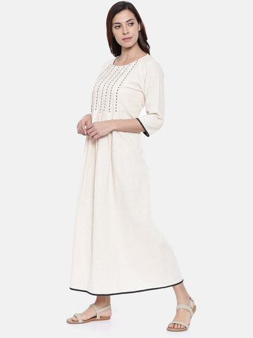 Beige Cotton Jaquard Dress  - AS0193