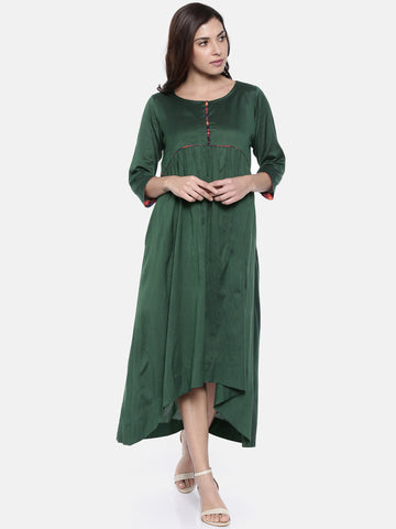 Green Cotton Silk Dress  - AS0196
