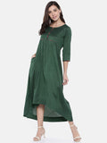 Green Cotton Silk Dress  - AS0196 - Asmi Shop