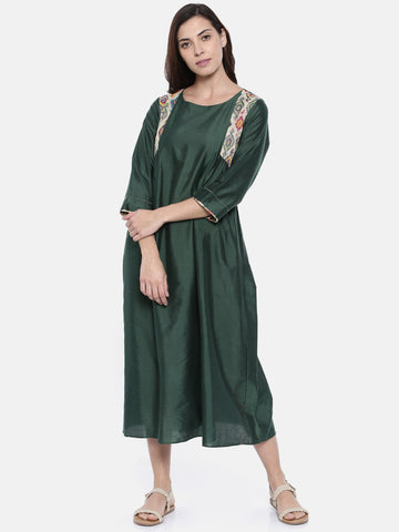 Green Cotton Chanderi Dress  - AS0197