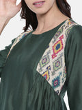Green Cotton Chanderi Dress  - AS0197 - Asmi Shop