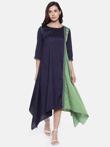 Blue Green A Line Dress  - AS0198