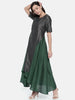 Grey Green Cotton Silk Dress  - AS0212
