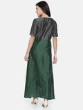 Grey Green Cotton Silk Dress  - AS0212 - Asmi Shop