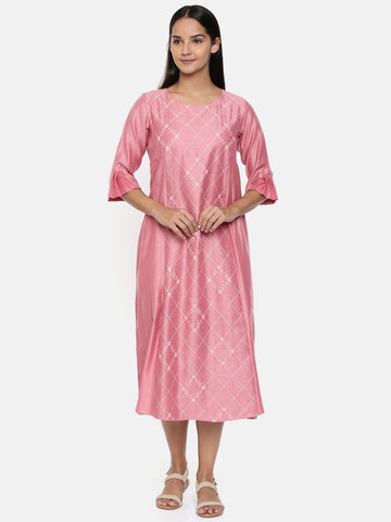 Pink linen satin embroidered dress.  - AS0235