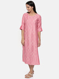 Pink linen satin embroidered dress.  - AS0235 - Asmi Shop