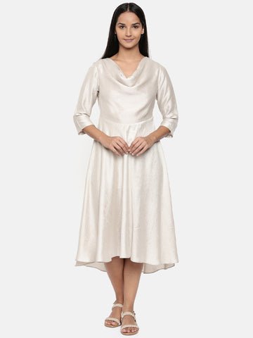 Silver beige, cotton silk high low cowl dress - AS0244