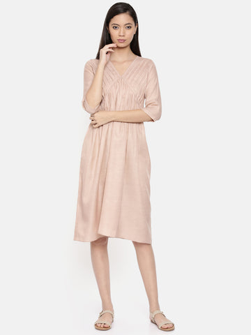Knee length mauve dress with pleated yoke - AS0248