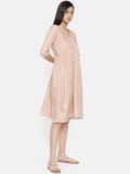 Knee length mauve dress with pleated yoke - AS0248 - Asmi Shop