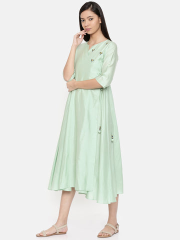 Mid-calf length mint green wrap around dress with embroidery - AS0252