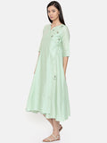 Mid-calf length mint green wrap around dress with embroidery - AS0252 - Asmi Shop