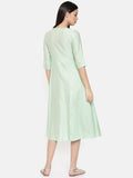Mid-calf length, mint green wrap around dress with printed panel and light embroidery - AS0254 - Asmi Shop