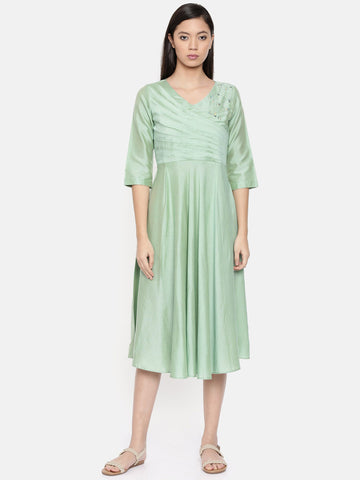 Overlap style green dress with pleat and cut-work embroidery detailing - AS0258