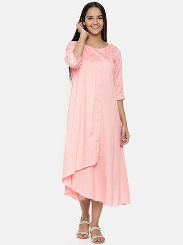 Blush pink, cotton silk embroidered maxi dress with gathers - AS0261