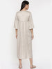Beige assymetric dress with flounce sleeves and  gathers - AS0263