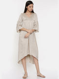 Beige assymetric dress with flounce sleeves and  gathers - AS0263 - Asmi Shop
