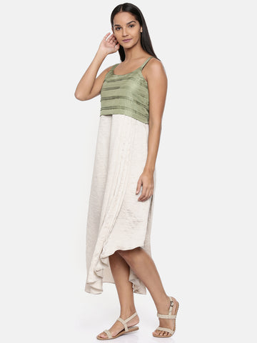Silver beige/green, cotton silk pleated dress with sequins detailings - AS0265
