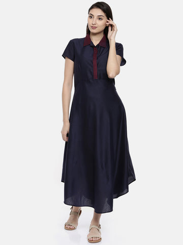 Classic Collared Blue Dresss - AS027