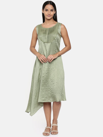 Green, cotton silk dress with pleats detailings - AS0283