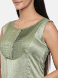 Green, cotton silk dress with pleats detailings - AS0283 - Asmi Shop