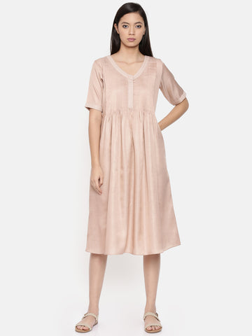 Knee length mauve dress with pin tuck and running stitch detailing - AS0285