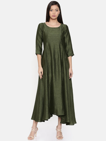 Rust green maxi dress with potli button detailing - AS0286