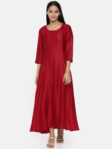 Red cotton silk panelled dress with show potlis - AS0288