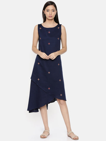 Assymetric blue dress with scattered embroidery  - AS0295