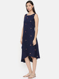 Assymetric blue dress with scattered embroidery  - AS0295 - Asmi Shop