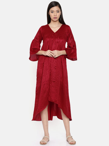 Red assymetric dress with flounce sleeves and gathers  - AS0297
