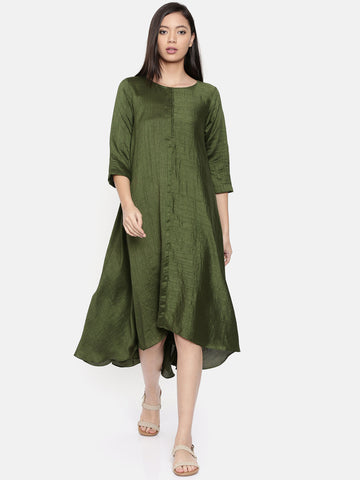 Rust green midi dress with potli buttons  - AS0306