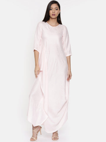 Baby pink waterfall hem maxi  - AS0307