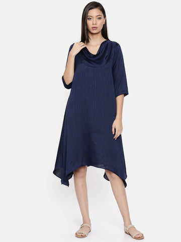 Blue cowl neck, waterfall hem dress  - AS0313