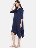 Blue cowl neck, waterfall hem dress  - AS0313 - Asmi Shop
