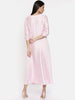 Baby pink maxi with potli button detailing  - AS0315
