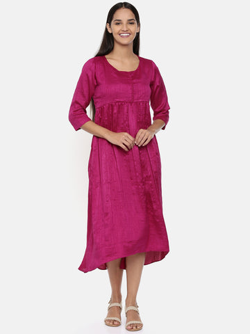 Wine pink cotton silk gathered dress with potli buttons - AS0323