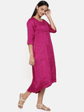 Wine pink cotton silk gathered dress with potli buttons - AS0323 - Asmi Shop